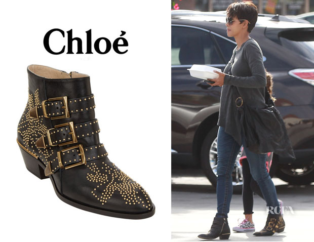 Halle Berry's Chloé 'Suzanna' Studded Ankle Boots