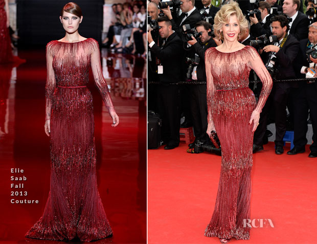 Jane Fonda In Elie Saab Couture - 'Grace of Monaco' Cannes Film Festival Premiere & Opening Ceremony