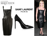 Jane Krakowski's Alexander McQueen Structured Leather Dress And Saint Laurent Leather Pumps