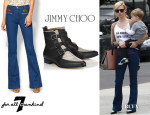 January Jones' 7 For All Mankind Tailored Welt Trouser With Leather Trim And Jimmy Choo 'Marlin' Boots