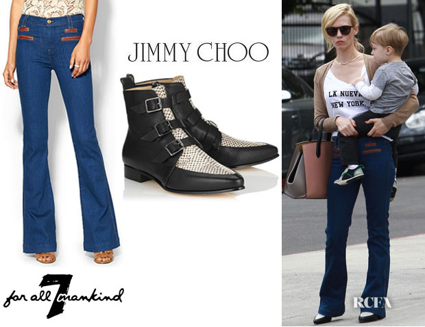 January Jones  7 For All Mankind Tailored Welt Trouser With Leather Trim  And Jimmy Choo 4e6bc711a5