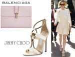 Jennifer Lawrence's Balenciaga Tube Pochette And Jimmy Choo 'Vapour' T-Strap Sandals