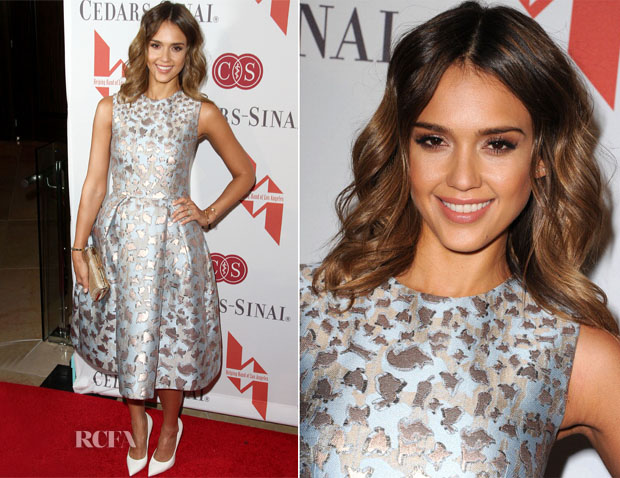 Jessica Alba In Mary Katrantzou - The Helping Hand of Los Angeles Mother's Day Luncheon