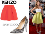 Jessica Alba's Kenzo Pleated Neon Neoprene Mini Skirt And Jimmy Choo 'Abel' Woven Point-Toe Pumps