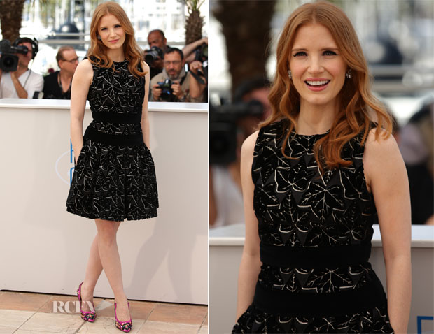 Jessica Chastain In Alexander McQueen - 'The Disappearance Of Eleanor Rigby' Cannes Film Festival Photocall