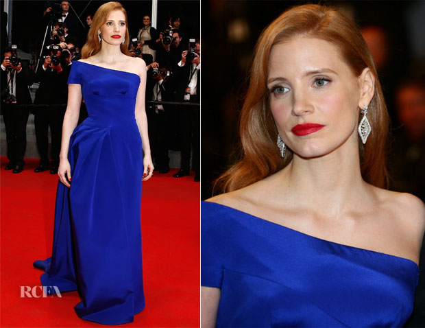 c1f3280d2921 Jessica Chastain In Atelier Versace - 'The Disappearance of Eleanor Rigby'  Cannes Film Festival