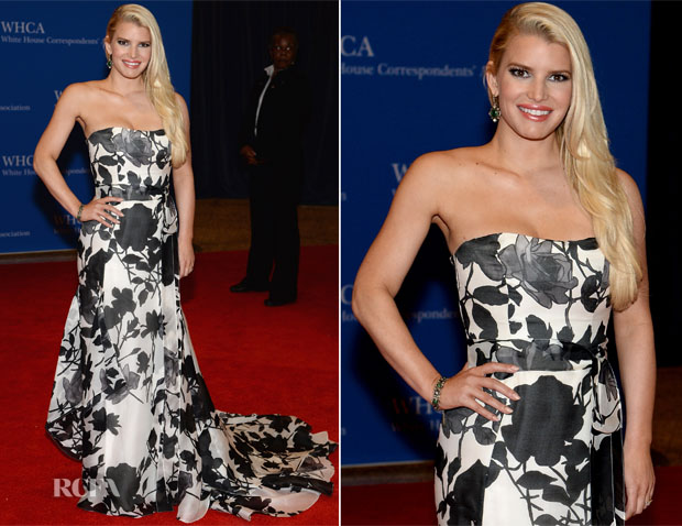 Jessica Simpson In Carolina Herrera - 100th Annual White House Correspondents' Association Dinner