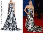 Jessica Simpson's Carolina Herrera Strapless Belted Rose-Print Ball Gown