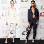 Karolina Kurkova and Lily Aldridge In Salvatore Ferragamo - Salvatore Ferragamo 'Fiamma' Bag Launch Dinner Party