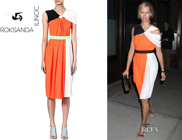 Karolina Kurkova's Roksanda Ilincic Draped-Back Dress