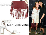 Kate Bosworth's Tabitha Simmons 'Leticia' Perforated Leather Sandals And Valentino 'Griffin' Fringe Leather Clutch