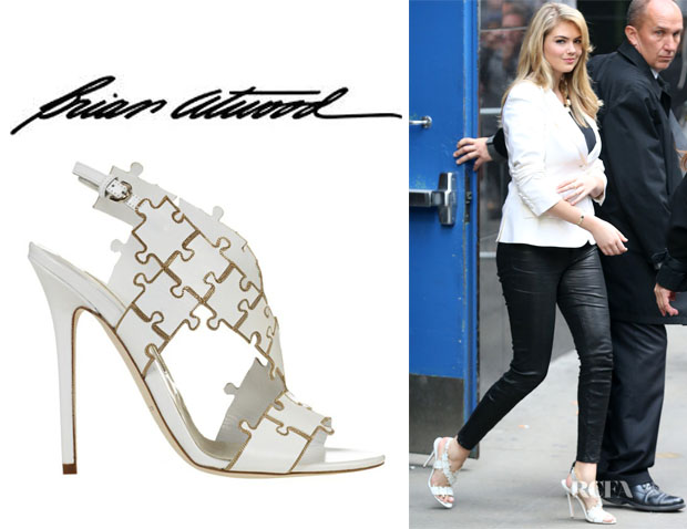 Kate Upton's Brian Atwood 'Sommer' Leather Puzzle Sandals