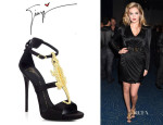 Kate Upton's Giuseppe Zanotti Alligator-Detail Satin Sandals