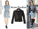 Katy Perry's Opening Ceremony 'Pasque' Pleated Velvet Dress And Acne Studios 'Mape' Leather Jacket