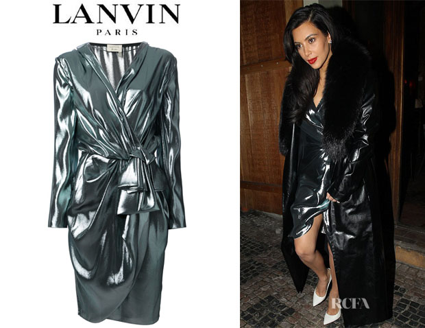 Kim Kardashian's Lanvin Metallic Wrap Dress