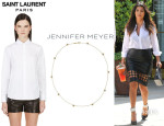 Kourtney Kardashian's Saint Laurent White Classic Poplin Blouse And Jennifer Meyer Pavé Diamond And Gold Star Necklace