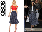 Kourtney Kardashian's ASOS Spot Pleat Midi Skirt