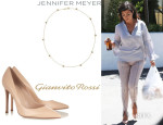 Kourtney Kardashian's Gianvito Rossi Pumps And Jennifer Meyer Pavé Diamond And Gold Star Necklace