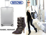 Kristin Cavallari's Isabel Marant 'Tacy Goat' Suede Leather Pony Booties And Rimowa 'Topas' Multiwheel Suitcase