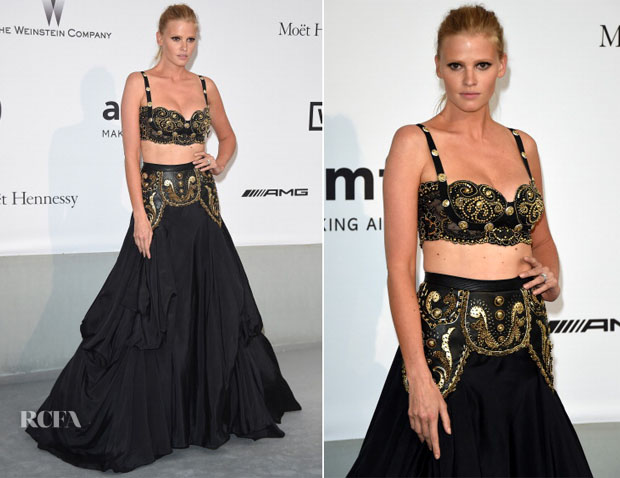 Lara Stone In vintage Gianni Versace - amfAR Cinema Against Aids Gala
