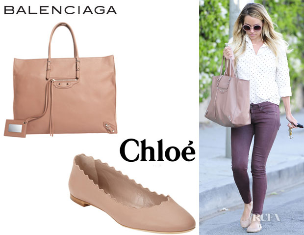 Lauren Conrad's Balenciaga 'Papier A4' Tote And Chloé Scalloped Flats