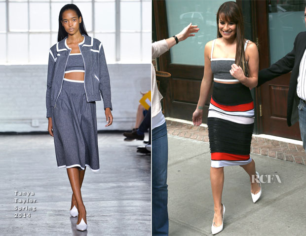 Lea Michele In Tanya Taylor - Out In New York City