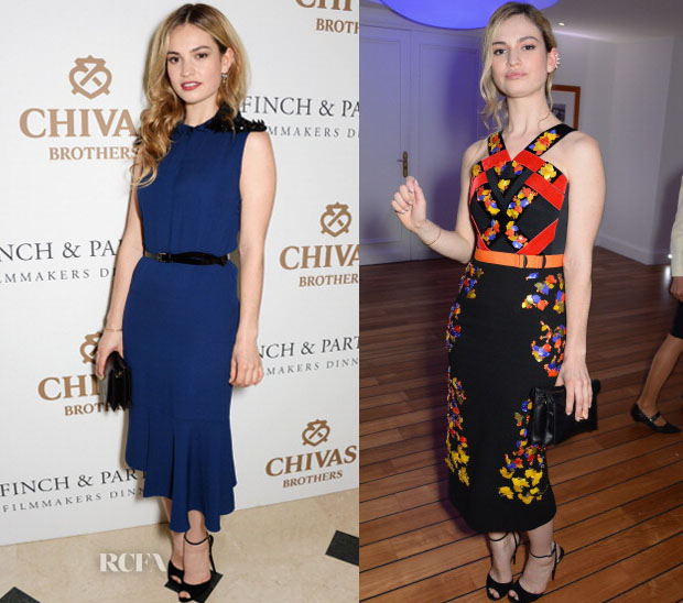 Lily James In Marni & Peter Pilotto - Cannes Film Festival Parties