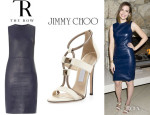 Mandy Moore's The Row 'Dastuls' Leather Dress And Jimmy Choo 'Vapour' Stud-Front T-Strap Sandals