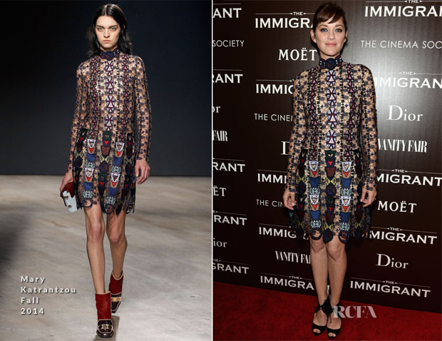 Marion Cotillard In Mary Katrantzou - 'The Immigrant'  New York Premiere