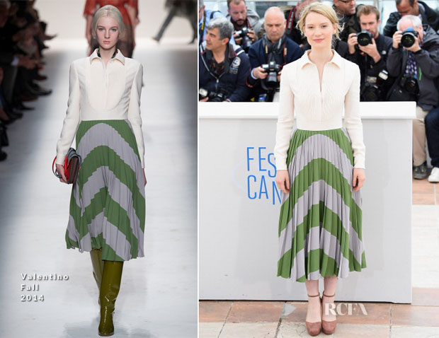 Mia Wasikowska In Valentino - 'Maps To The Stars' Cannes Film Festival Photocall