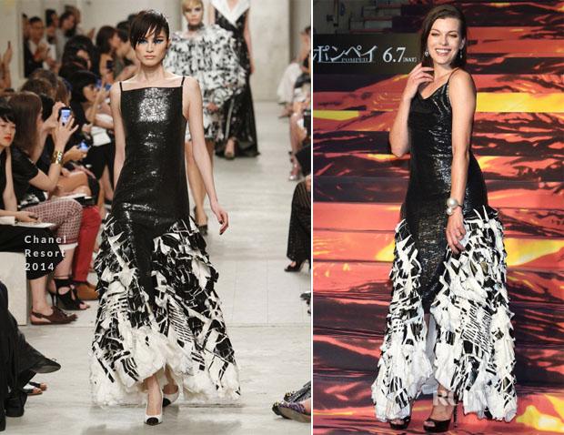 Milla Jovovich In Chanel - 'Pompeii' Tokyo Premiere