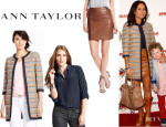 Minnie Driver's Ann Taylor Rail Stripe Topper, Ann Taylor Silk Camp Shirt And Ann Taylor 'Metro' Leather Pencil Skirt