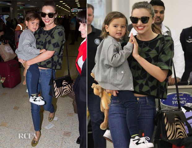 Miranda Kerr In RVN & 7 For All Mankind - Sydney International Airport