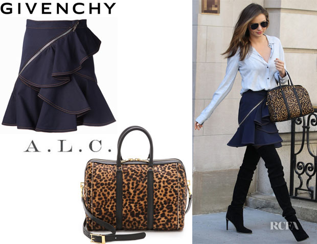 Miranda Kerr's Givenchy Ruffled Denim Skirt And A.L.C. Lucas Satchel