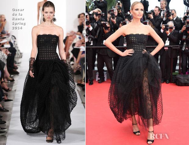 Natasha Poly In Oscar de la Renta - 'Saint Laurent' Cannes Film Festival Premiere