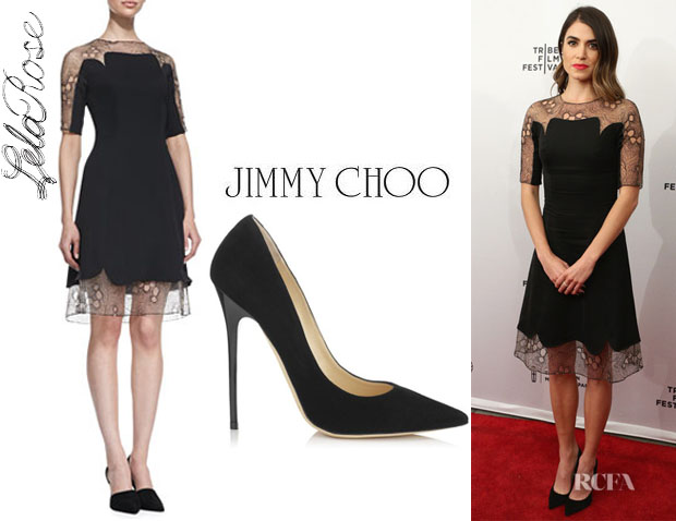 Nikki Reed's Lela Rose A-Line Lace Tulle Combo Dress And Jimmy Choo 'Anouk' Pumps1