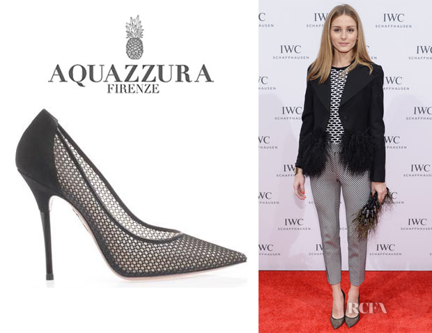 Olivia Palermo's Aquazzura 'Lulu' Mesh Point-Toe Pumps