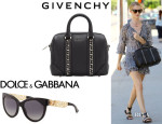 Rosie Huntington-Whiteley's Dolce & Gabbana 'Filigree' Cat's-Eye Sunglasses And Givenchy 'Lucrezia' Duffel