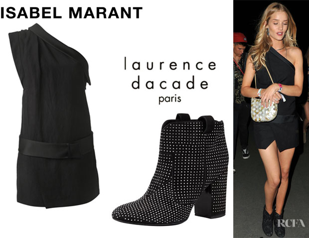Rosie Huntington-Whiteley's Isabel Marant 'Ormand' Dress And Laurence Dacade 'Pete' Studded Suede Ankle Boots