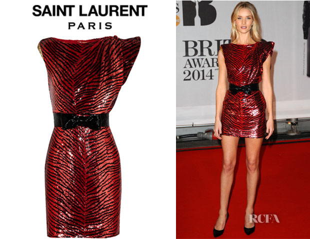 Rosie Huntington-Whiteley's Saint Laurent Asymmetric Sequined Crepe Mini Dress