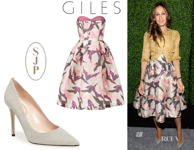 Sarah Jessica Parker's Giles Multi Strapless Bat Gazar Dress And SJP by Sarah Jessica Parker 'Fawn' Pumps