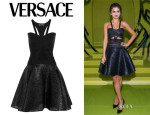 Selena Gomez' Versace Crepe And Glossed Linen-Blend Dress