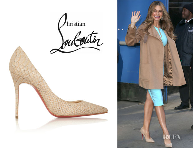 Sofia Vergara's Christian Louboutin 'Décolleté' Snake-Effect Cork Pumps