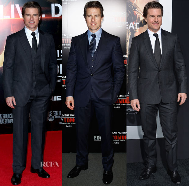 Tom Cruise In Giorgio Armani - 'Edge Of Tomorrow' Edge of Tomorrow' Red Carpet Repeat Tour