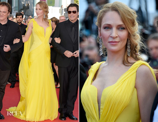 Uma Thurman In Atelier Versace - 'Clouds Of Sils Maria' Cannes Film Festival Premiere