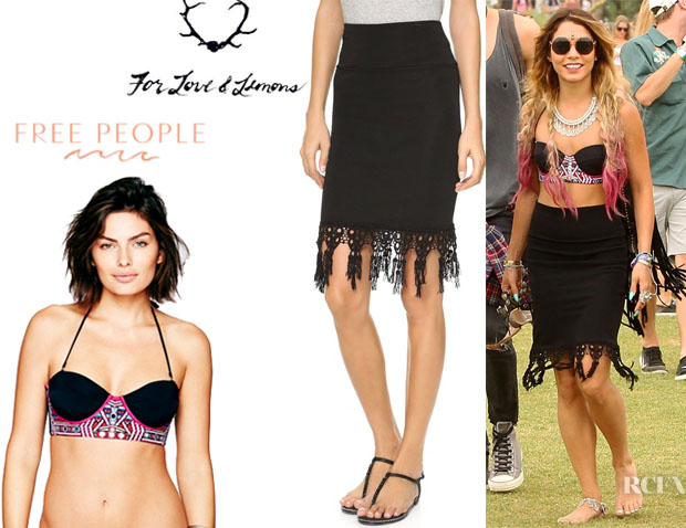Vanessa Hudgens' Free People Embroidered Bikini Top And For Love & Lemons Bandit Pencil Skirt