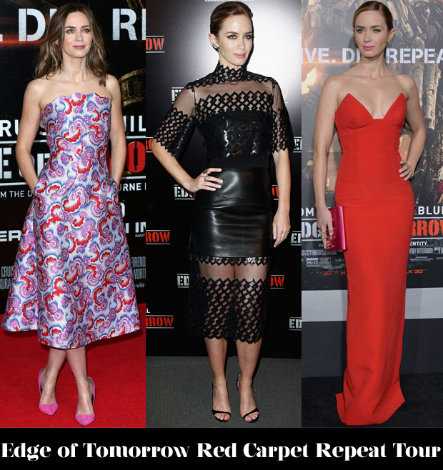 Which Was Your Favourite Emily Blunt 'Edge of Tomorrow' Red Carpet Repeat Tour Look