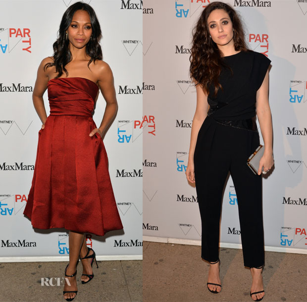 Zoe Saldana & Emmy Rossum In Max Mara - Whitney Art Party