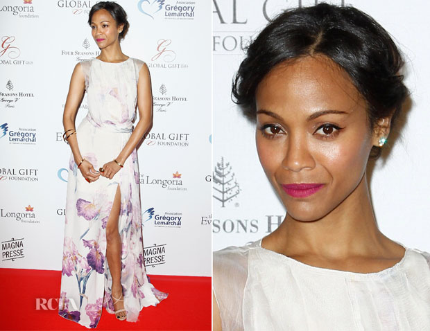 Zoe Saldana In Nina Ricci - Global Gift Gala 2014