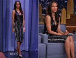 Zoe Saldana In Reed Krakoff - The Tonight Show Starring Jimmy Fallon